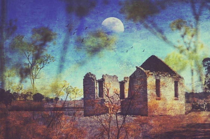 Ruinas históricas de la iglesia del St Marys ilustración del vector