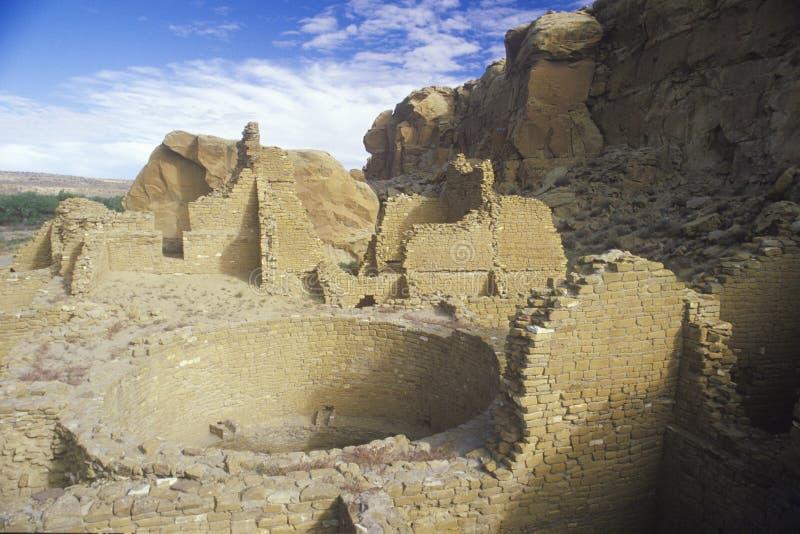 Ruinas indias del barranco de Chaco, nanómetro, circa 1060, el centro de la civilización india, nanómetro foto de archivo libre de regalías