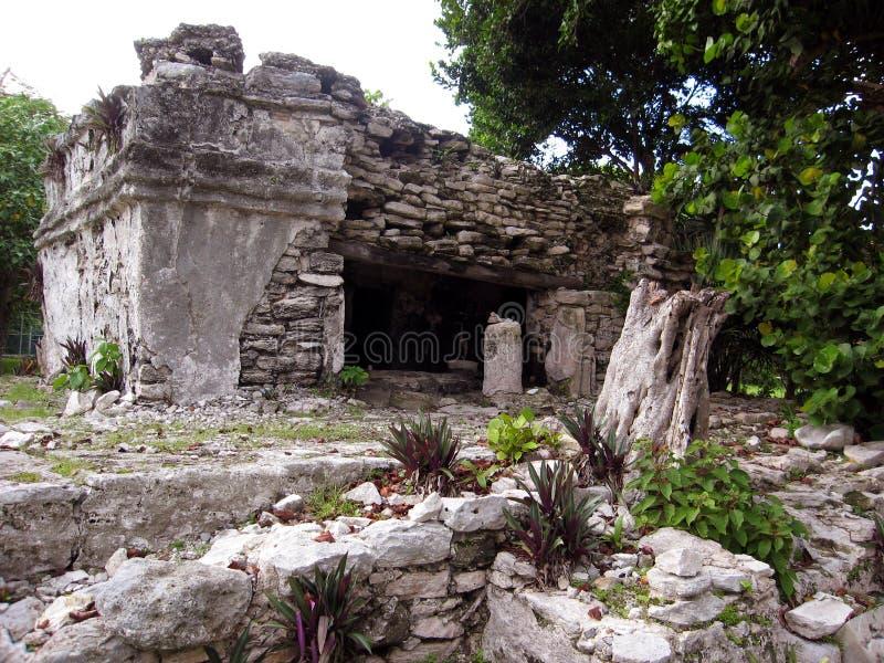 Ruinas mayas en el Playa del Carmen, MX imágenes de archivo libres de regalías