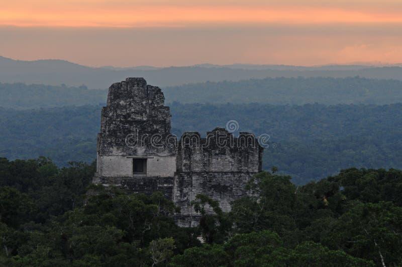 Ruinas mayas en Tikal imágenes de archivo libres de regalías