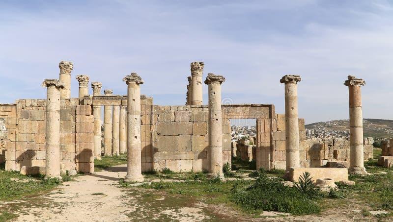 Ruinas romanas en la ciudad jordana de Jerash, Jordania fotografía de archivo libre de regalías