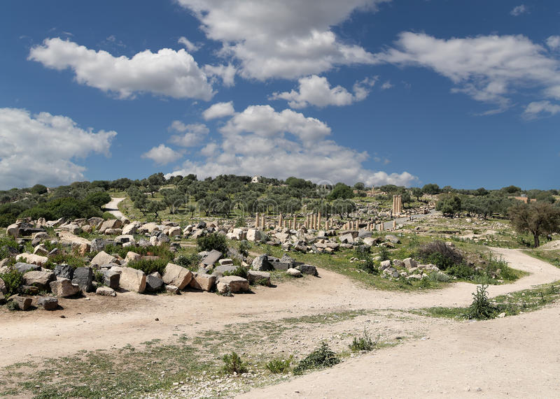 Ruinas romanas en Umm Qais (Umm Qays), Jordania fotos de archivo libres de regalías