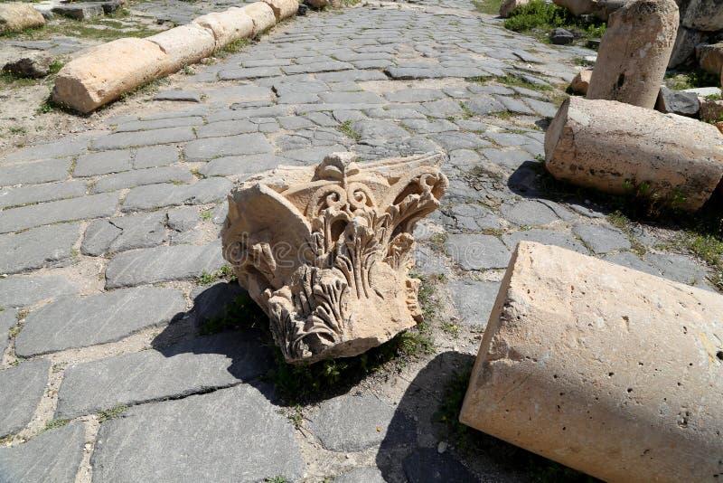 Ruinas romanas en Umm Qais (Umm Qays), Jordania imagen de archivo