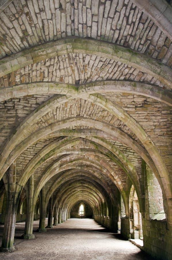 Ruinas saltadas de la abadía de las fuentes imagen de archivo
