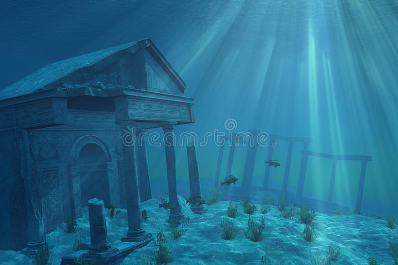 Ruinas submarinas ilustración del vector
