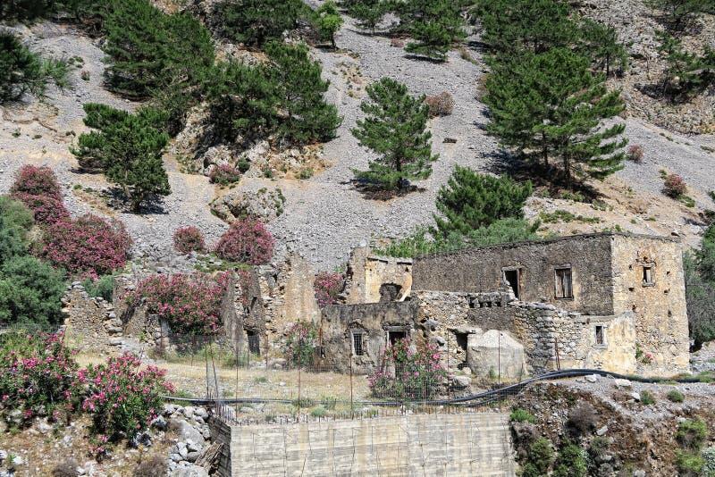 Ruinas viejas del pueblo de Agia Roumeli, caminando a través de Samaria Go fotos de archivo libres de regalías