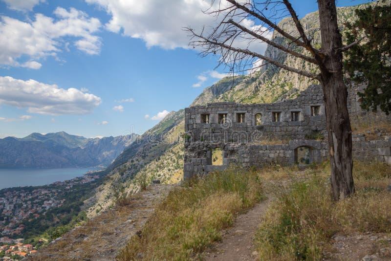 Ruinas viejas a lo largo de las paredes de la ciudad que suben detrás de Kotor, Montenegro foto de archivo libre de regalías