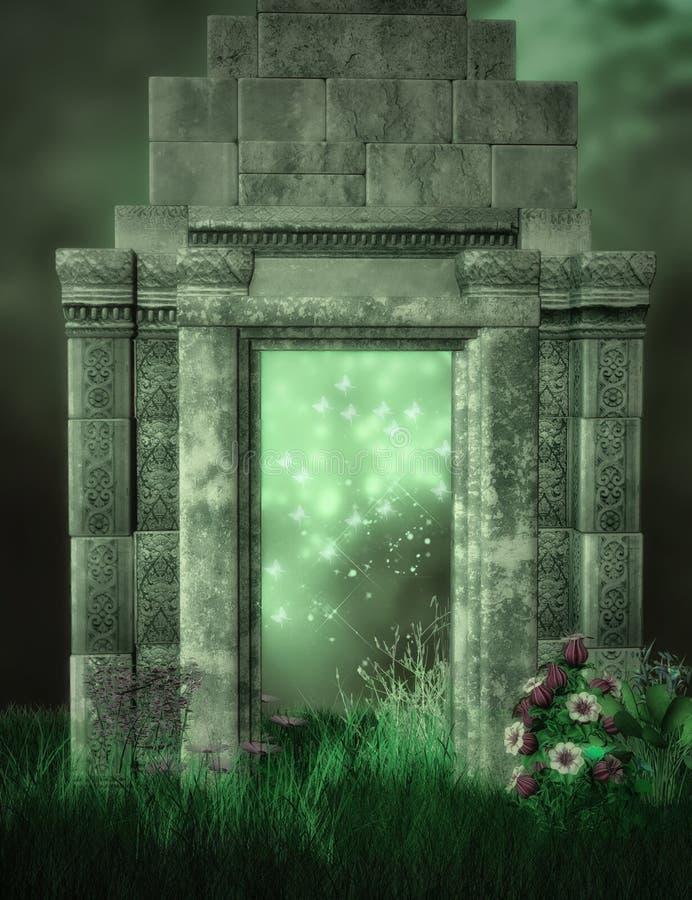 Ruinas y jardín de la fantasía ilustración del vector