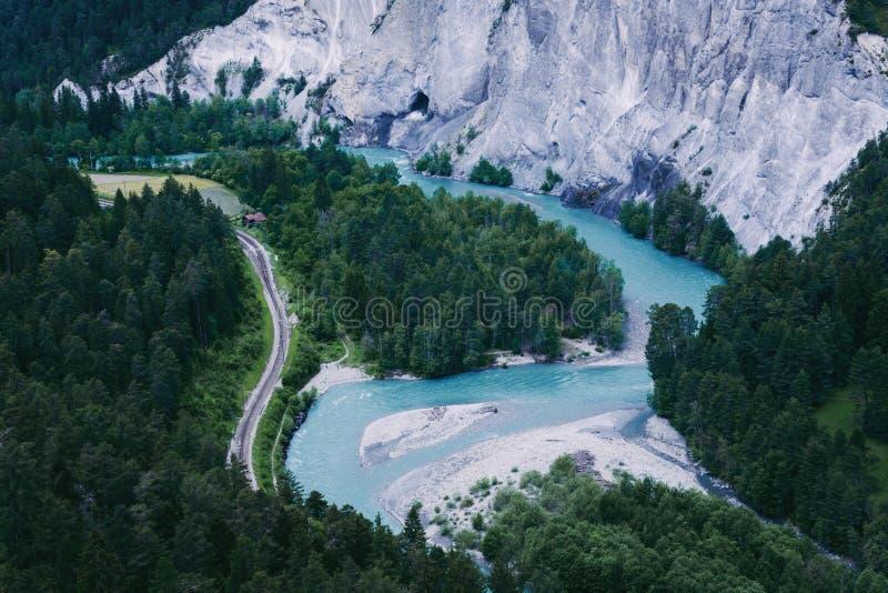 Ruinaulta峡谷在瑞士 库存照片