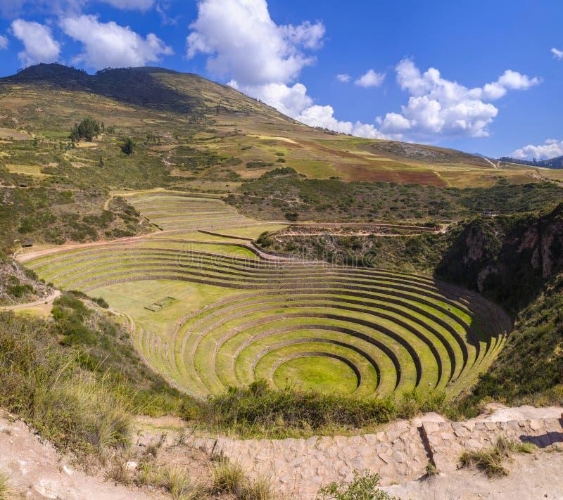 Ruine de Moray Inca au Pérou images stock