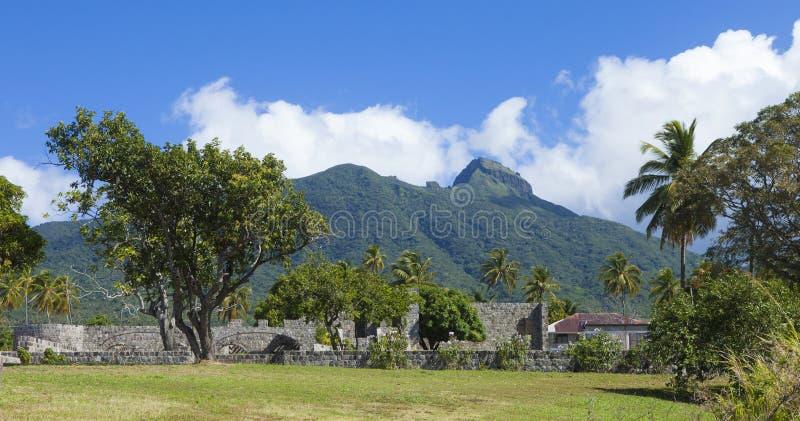 Ruine de plantation de canne à sucre dans St Kitts photographie stock libre de droits