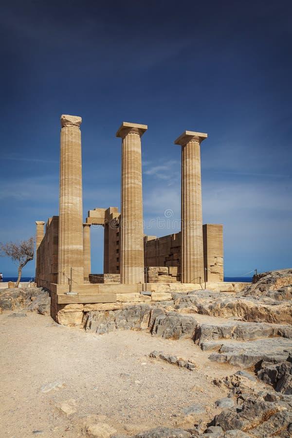 Ruine Lindos de temple d'Athéna photographie stock libre de droits