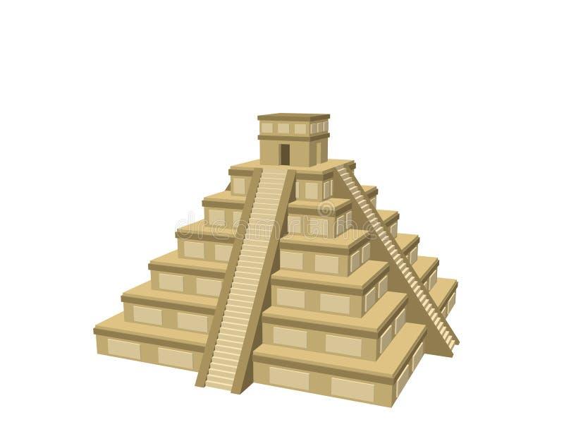 Ruine maya d'itza de Chichen D'isolement sur le fond blanc illustrat du vecteur 3d illustration libre de droits