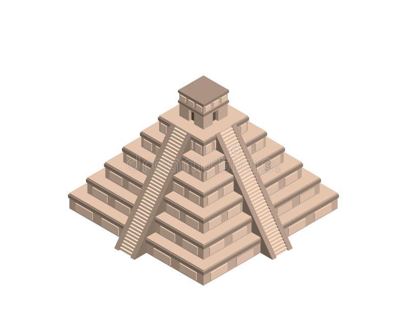 Ruine maya d'itza de Chichen D'isolement sur le fond blanc illustrat du vecteur 3d illustration stock
