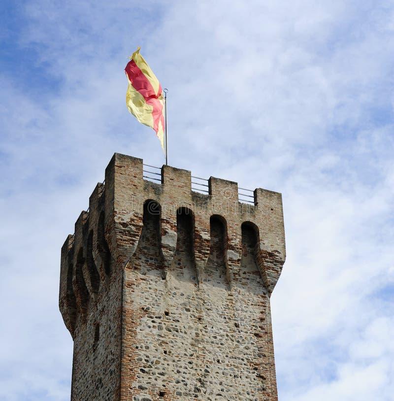 Ruine simple de château de tour dans Este, province de Padoue, Vénétie photos stock