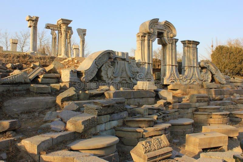 Ruine-vieux palais d'été de la Chine Pékin Yuanmingyuan photos stock