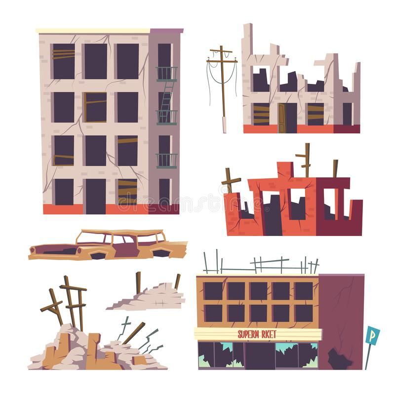 Ruined abandoned houses and car set, old buildings vector illustration