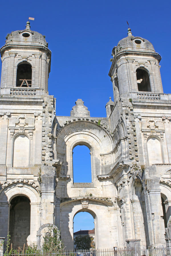 Ruined Abbey of St Jean D`Angely. France stock photography