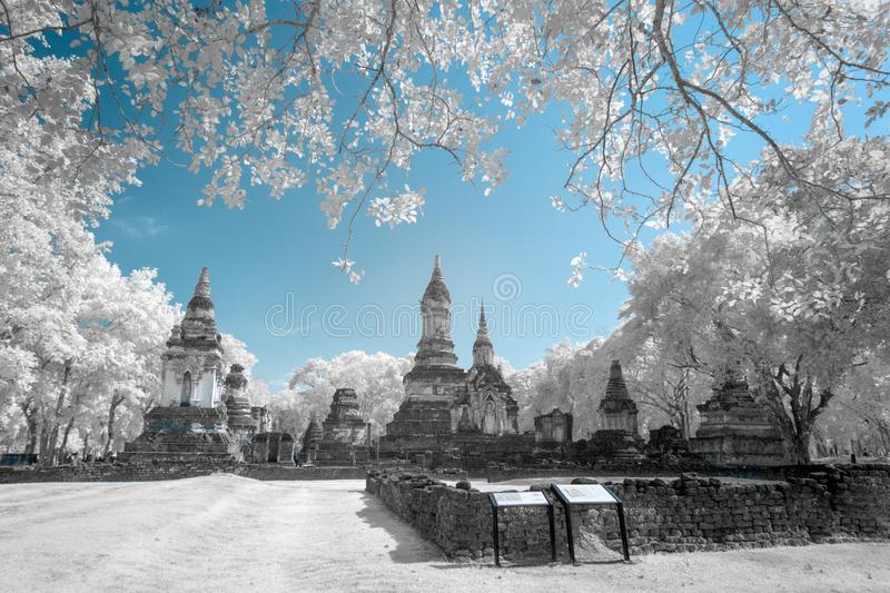 Ruined ancient Buddhist temple and pagoda stock photos