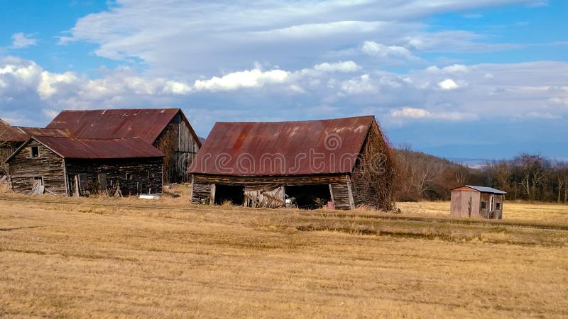Abandoned Farm Buildings in Field - Adirondack Park, New York State. Ruined barns and sheds on old agriculture land, abandoned, farm, buildings, field stock image