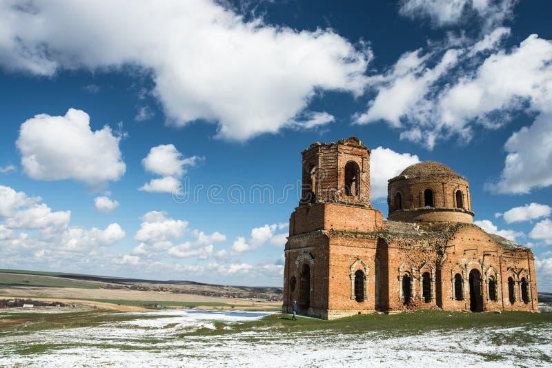 The ruined brick Church royalty free stock image