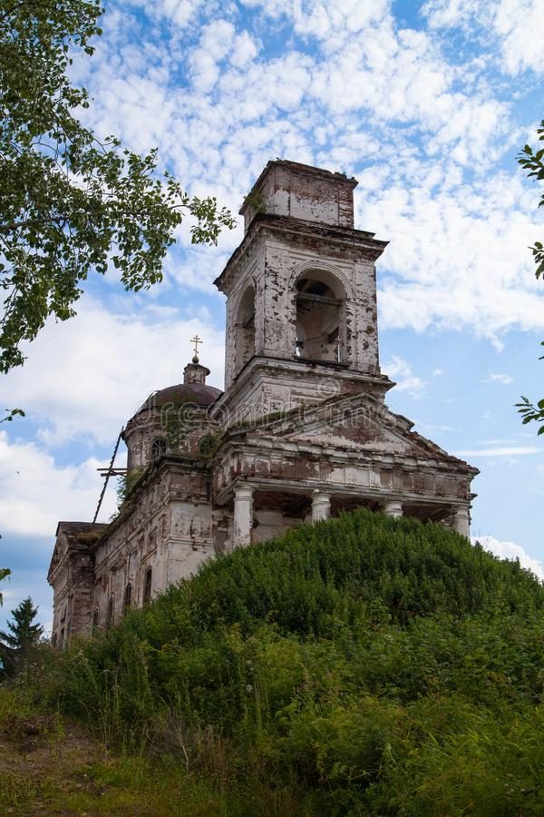 The ruined brick Church on the hill. Ruined brick church on a hill. Withering beauty. Ruins of the church royalty free stock photography