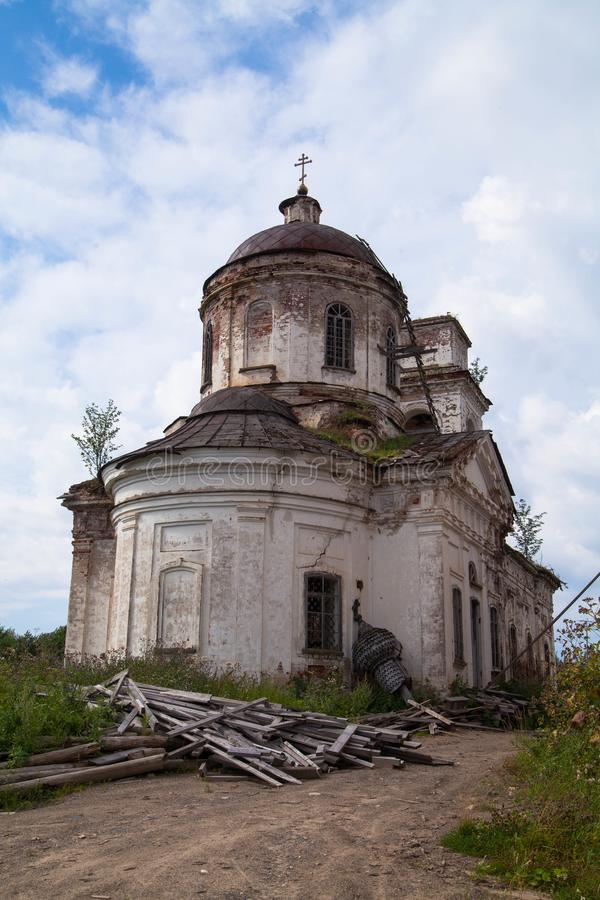 The ruined brick Church on the hill. Ruined brick church on a hill. Withering beauty. Ruins of the church stock photography
