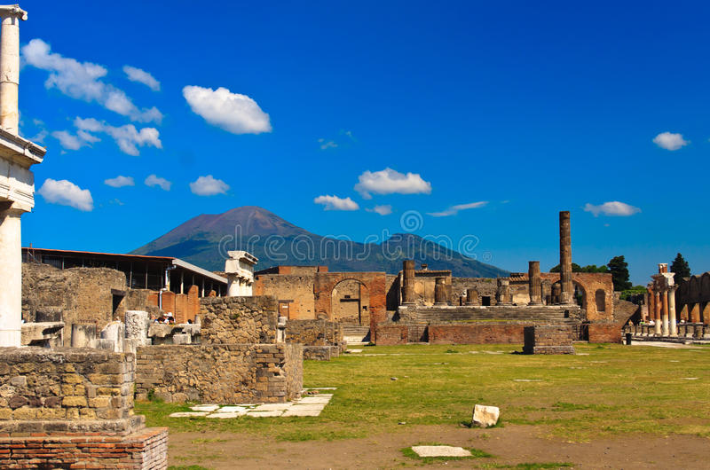 Ruined building in Pompei. Historical ruined building with the Vezuv, Pompei royalty free stock photo