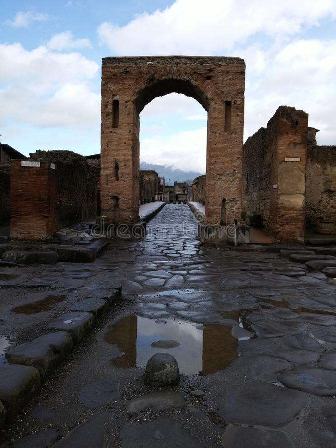 Ruined building in Pompeii stock photos