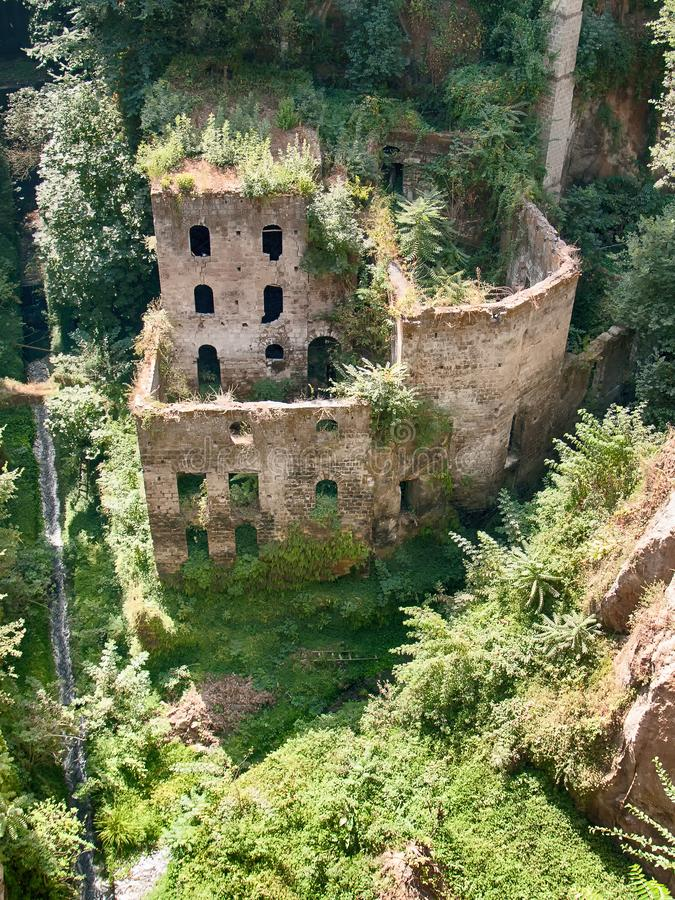 A ruined building in Sorrento from above stock image