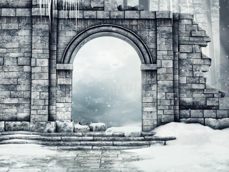Ruined castle gate with snow. And icicles in a winter forest vector illustration