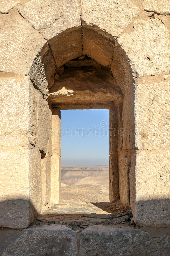 Ruined castle Shobak. In Jordan on a sunny day, with the desert in the background. it´s a vertical picture royalty free stock photo