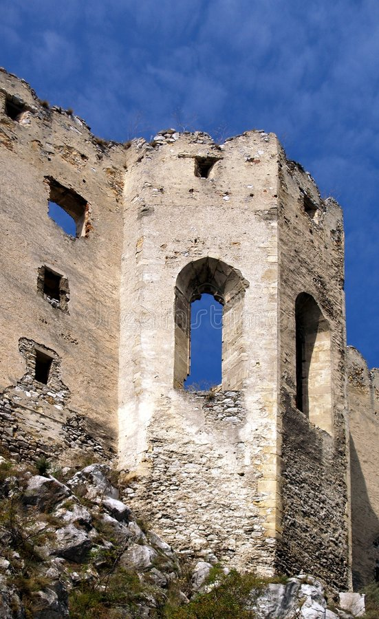 Ruined chapel of Beckov castle stock images