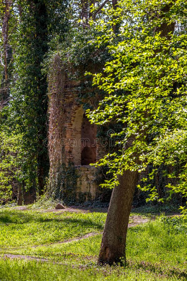 Ruined chapel in the English Castle Park stock photos