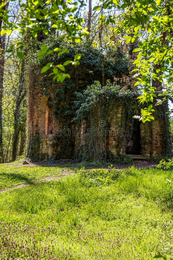 Ruined chapel in the English Castle Park stock photography