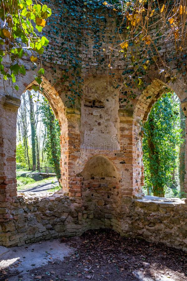 Ruined chapel in the English Castle Park stock image