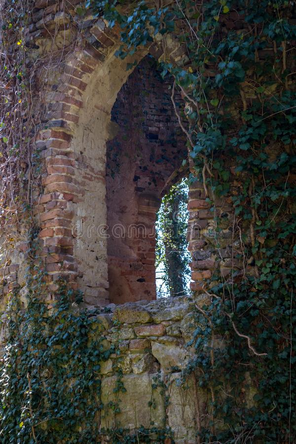 Ruined chapel in the English Castle Park royalty free stock photo