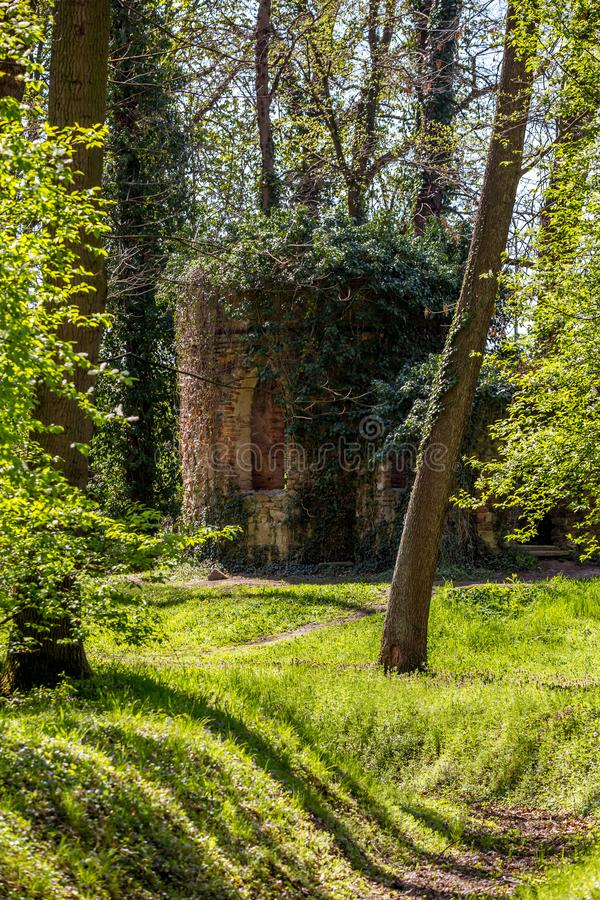 Ruined chapel in the English Castle Park stock photo