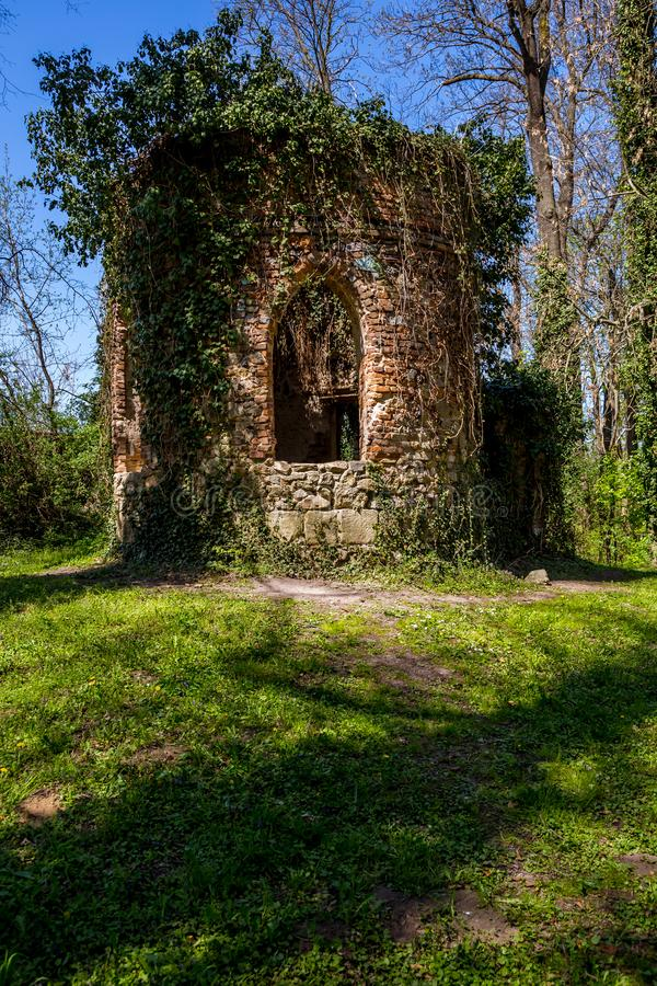 Ruined chapel in the English Castle Park royalty free stock photography