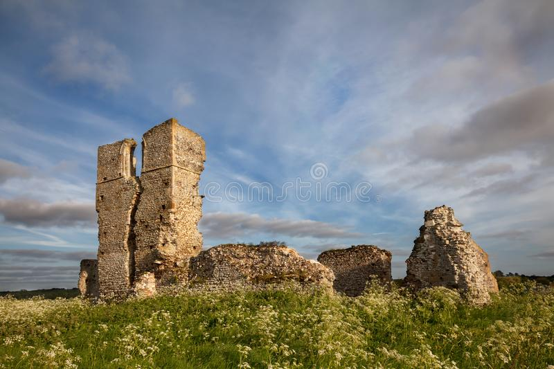 Ruined church landscape in Norfolk UK. Ancient ruined church of St. James with beautiful sky located in Norfolk. Bawsey church buit in 1130 AD in the Norman royalty free stock photos