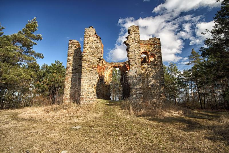 Ruined church remains stock photos
