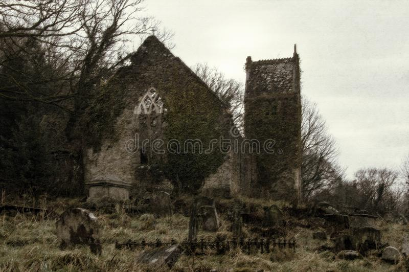 The ruined church of St Marys in Tintern on a cold spooky winters day royalty free stock images