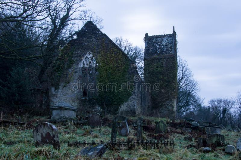 The ruined church of St Marys in Tintern on a cold spooky winters day stock images