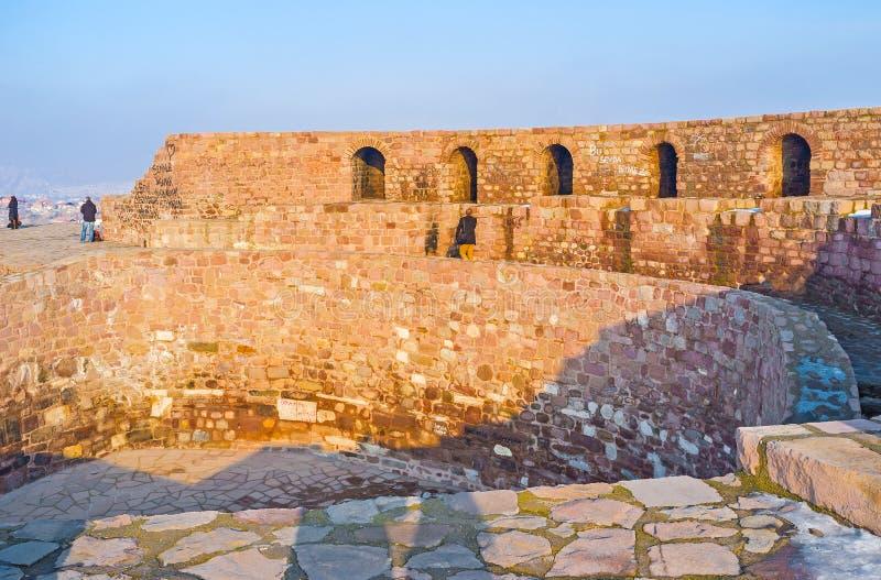 The ruined citadel of Ankara. The stone citadel wall, located on the top of the hill in the city center, Ankara, Turkey stock photos