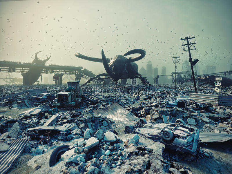Ruined city by giant insects. Apocalyptic fantasy concept. 3D rendering stock illustration
