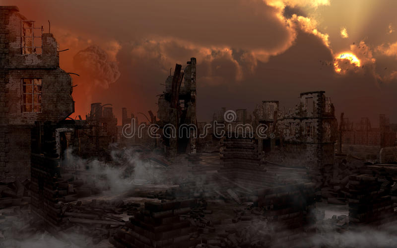 Ruined city with smoke vector illustration