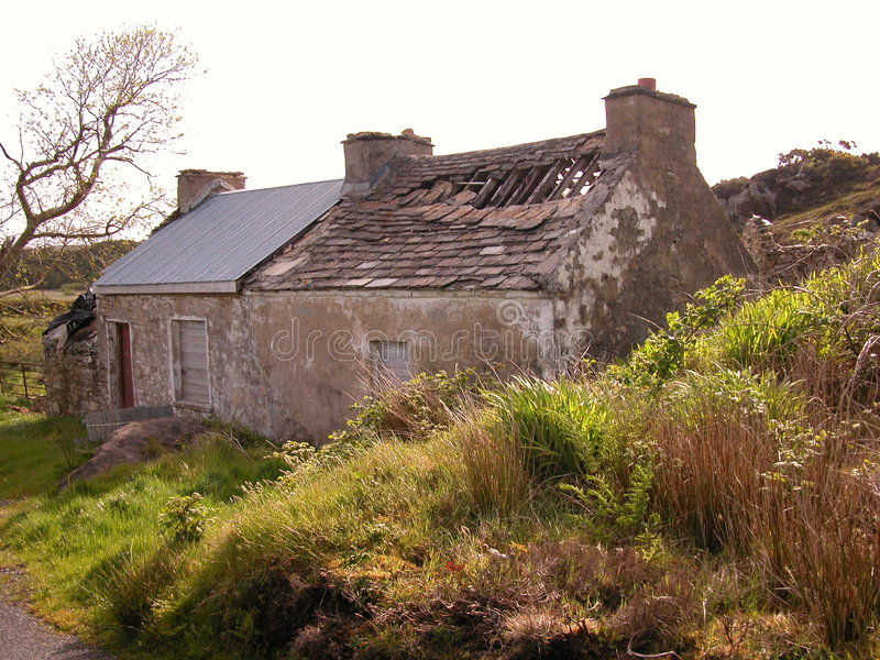 Ruined Cottage. A real fixer upper of a farmers cottage in Upper Ardsbeg, Donegal, ireland royalty free stock photo
