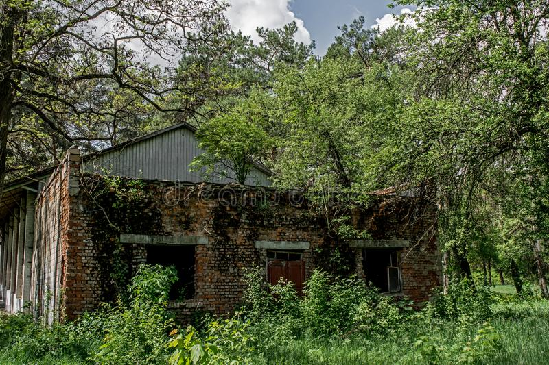Ruined creepy scary building at the abandoned summer kids camp in Ukraine. Ruined scary creepy building in the forest at the abandoned summer kids camp in stock image