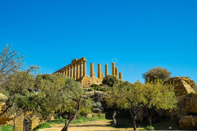 Ruined doric columns Greek Temple of Heracles in ancient Valley of Temples, Agrigento, Sicily royalty free stock photo