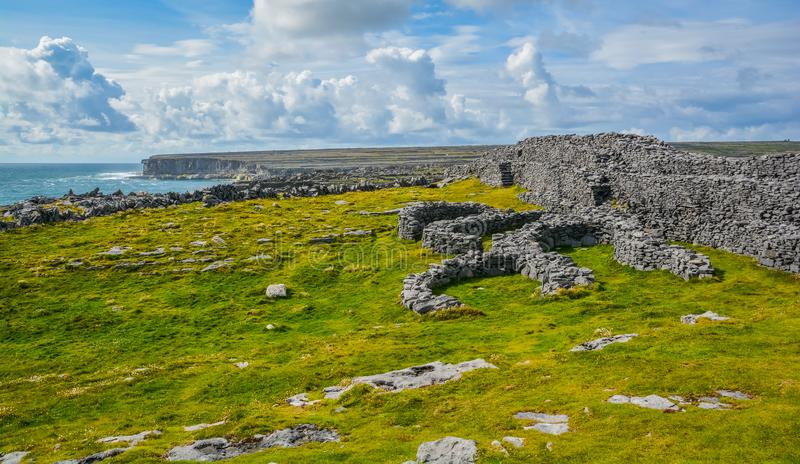 A ruined fort in Inishmore, Aran Islands, Ireland. Inishmore is one of western Ireland`s Aran Islands. It sits at the mouth of Galway Bay and is known for stock photo